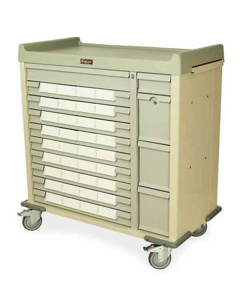 """Harloff SL36BIN5 Standard Line 36 - 5"""" Med-Bin Medication Cart with Key Locks (Beige)"""