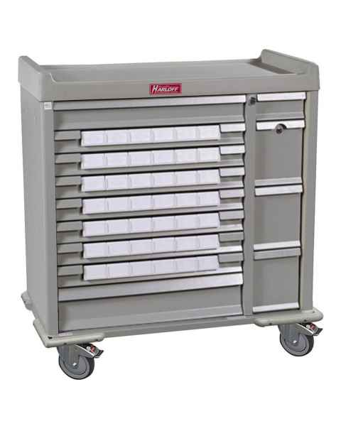 "Harloff SL42BIN3 Standard Line 42 - 3.5"" Med-Bin Medication Cart with Key Locks"