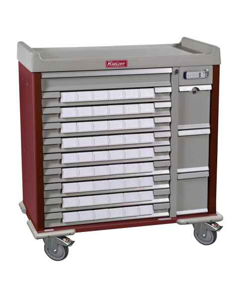 "Harloff SL54BIN3E Standard Line 54 - 3.5"" Med-Bin Medication Cart with Basic Electronic Lock"