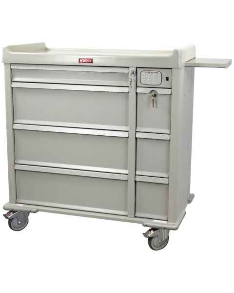 Harloff Standard Line 600 Punch Card Medication Cart with CompX Electronic Lock, Single Wide Narcotics Drawer