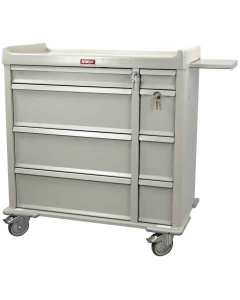 Harloff SL600PC Standard Line 600 Punch Card Medication Cart with Key Locks, 1 Single Wide Narcotics Drawer