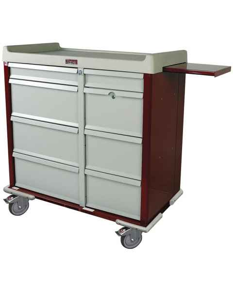 Harloff SL602PC Standard Line 600 Punch Card Medication Cart with Key Locks, Double Wide Narcotics Drawer
