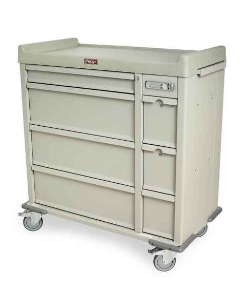 Harloff Standard Line 600 Punch Card Medication Cart with Basic Electronic Lock, 2 Single Wide Narcotics Drawers