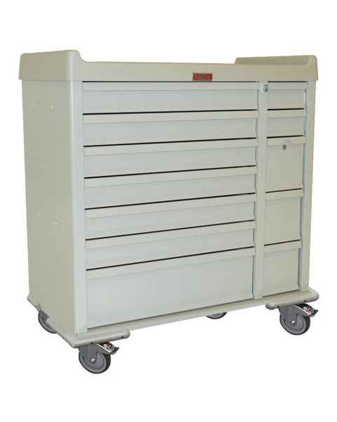Harloff SL72MD Standard Line 72 Bin Multi-Dose Medication Cart with Key Locks
