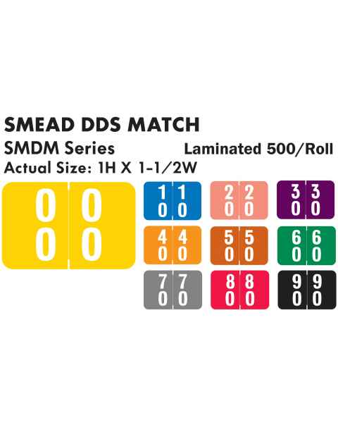 "Smead DDS Match SMDM Series Double Digit Numeric Roll Color Code Labels - 1""H x 1 1/2""W"