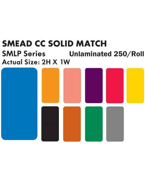 "Smead CC Match SMLP Series Solid Color Roll Labels - 2""H x 1""W"