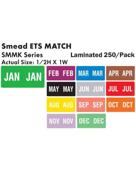 """Smead ETS Match SMMK Series Month Code Sheet Labels - 1/2""""H x 1""""W"""