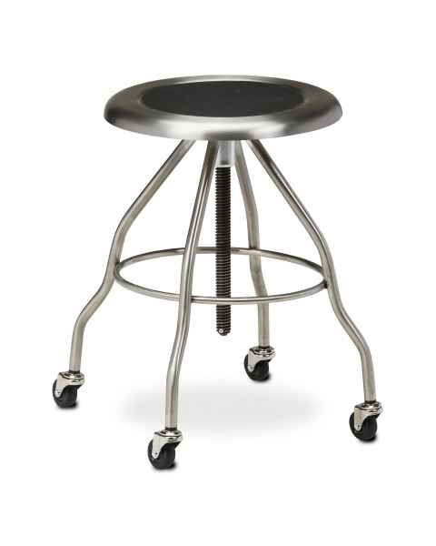 "Clinton Model SS-2162 Stainless Steel Stool With Casters & 15"" Diameter Stainless Steel Seat"