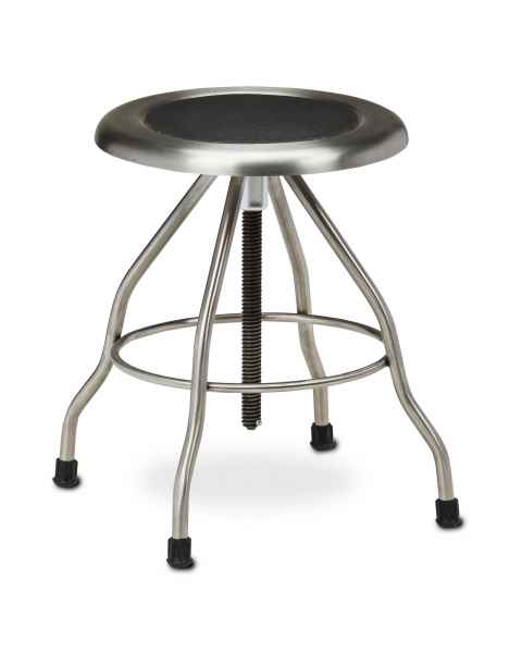 "Stainless Steel Stool with Rubber Feet & 15"" Diameter Stainless Steel Seat"