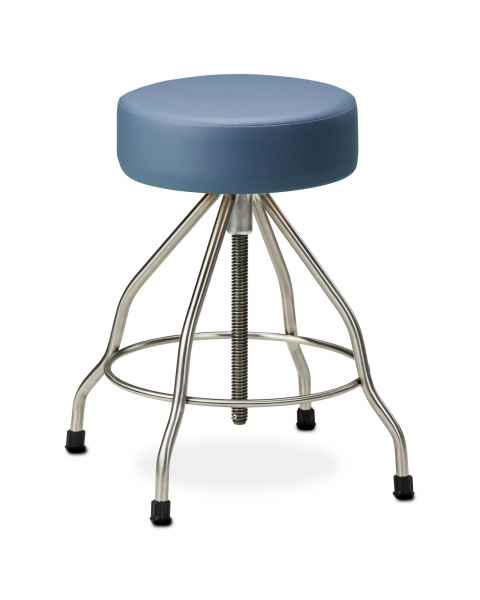 "Stainless Steel Stool with Rubber Feet, 4"" Thick Padded Seat & Extra Wide Base"