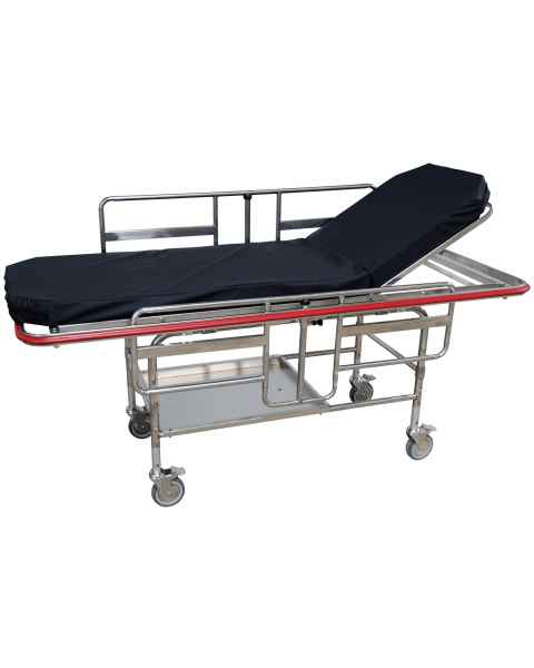 """MRI Non-Magnetic Fixed Bariatric Gurney with 5"""" Swivel Locking Casters - Black Pad"""