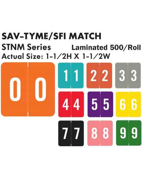 "Sav-Tyme/SFI Match STNM Series Numeric Roll Color Code Labels - 1 1/2""H x 1 1/2""W"