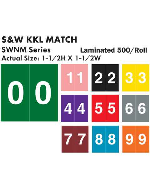 """S & W KKL Match SWNM Series Numeric Roll Color Code Labels - 1 1/2""""H x 1 1/2""""W"""