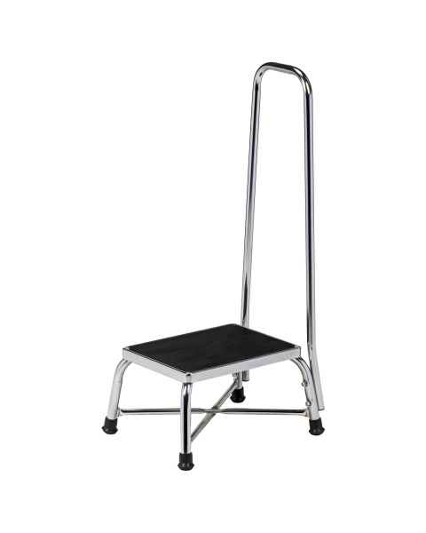Clinton Model T-6150 Chrome Bariatric Single Step Stool with Handrail