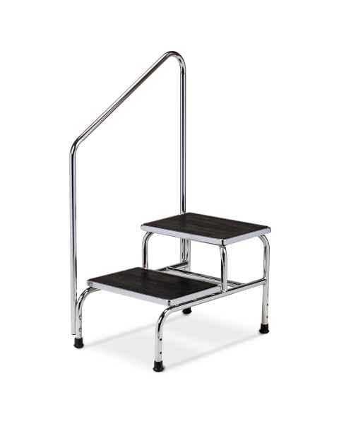 Clinton Double-Step Chrome Bariatric Step Stool with Handrail