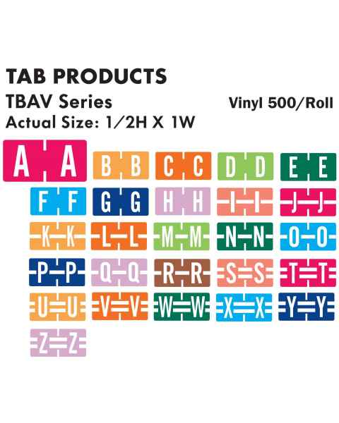 "Tab Products Match TBAV Series Alpha Roll Labels - 1/2""H x 1""W"