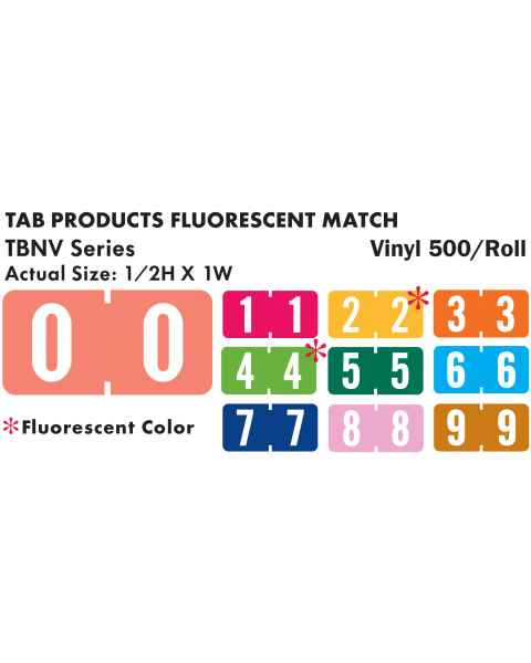 "Tab Products Match TBNV Series Numeric Roll Color Code Labels - 1/2""H x 1""W"