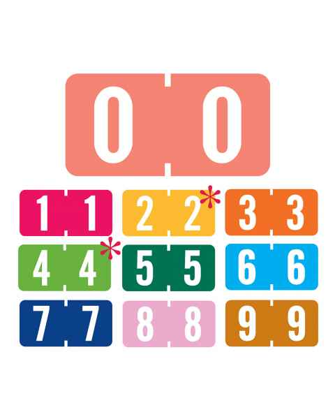 """Tab Products Match TBNV Series Numeric Roll Color Code Labels - 1/2""""H x 1""""W"""