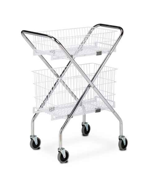 "Clinton Folding Cart Frame Model TC-233, 6"" Wire Basket Model TB-206, and 12"" Wire Basket Model TB-212"