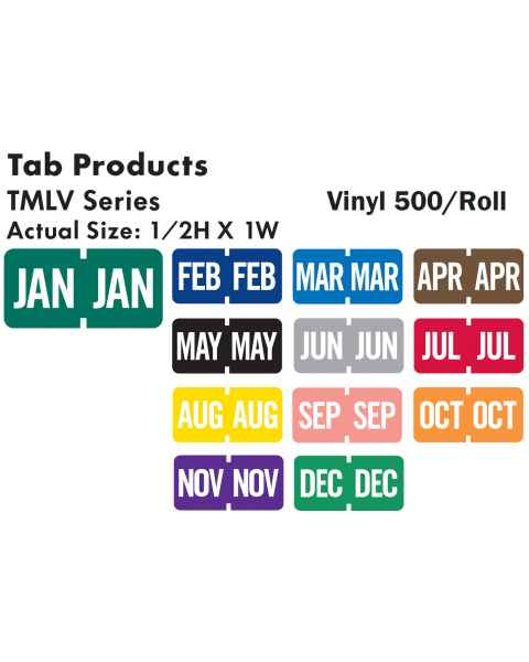 """Tab Products Match TMLV Series Month Code Roll Labels - 1/2""""H x 1""""W"""
