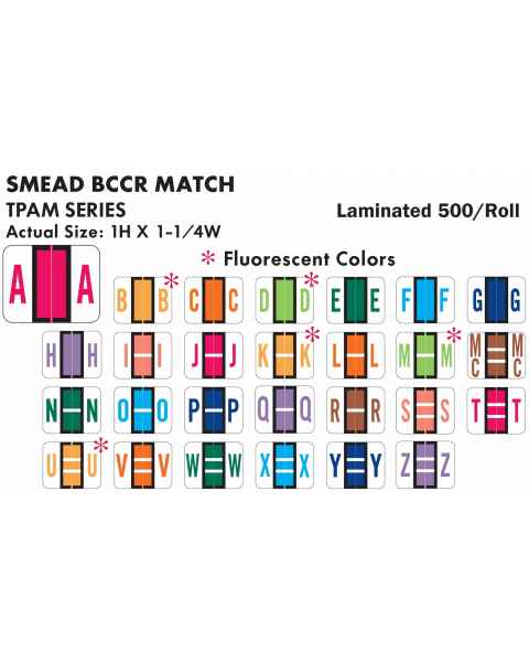 "Smead BCCR Match TPAM Series Alpha Roll Labels - 1""H x 1 1/4""W"