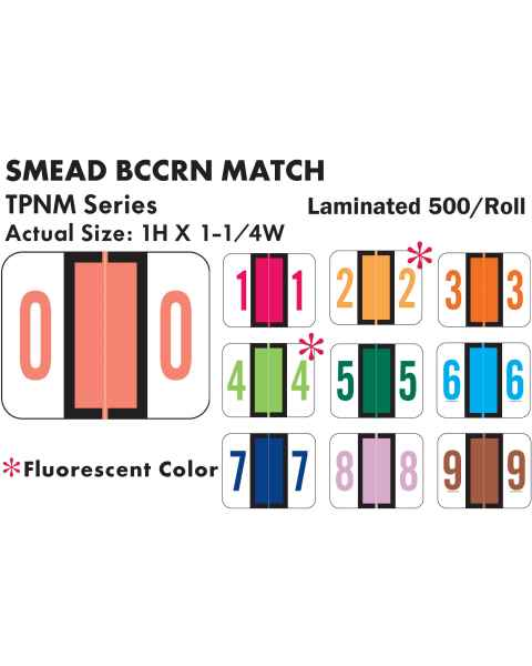 """Smead BCCRN Match TPNM Series Numeric Roll Color Code Labels - 1""""H x 1 1/4""""W"""