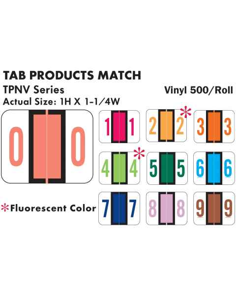 """Tab Products Match TPNV Series Numeric Roll Color Code Labels - 1""""H x 1 1/4""""W"""
