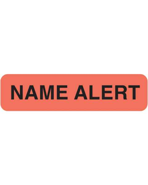"NAME ALERT Label - Size 1 1/4""W x 5/16""H - Fluorescent Red"