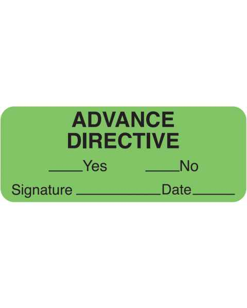 "ADVANCE DIRECTIVE Label - Size 2 1/4""W x 7/8""H - Fluorescent Green"