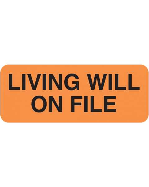 "LIVING WILL ON FILE Label - Size 2 1/4""W x 7/8""H"