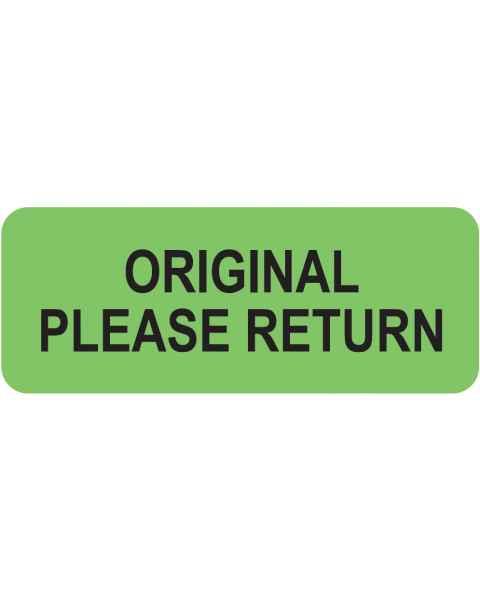 "ORIGINAL PLEASE RETURN Label - Size 2 1/4""W x 7/8""H"