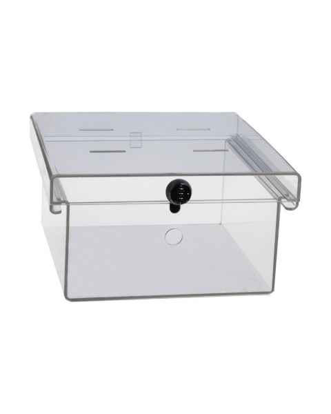 UM3093 Clear Acrylic Refrigerator Lock Box Shown with Combination Lock