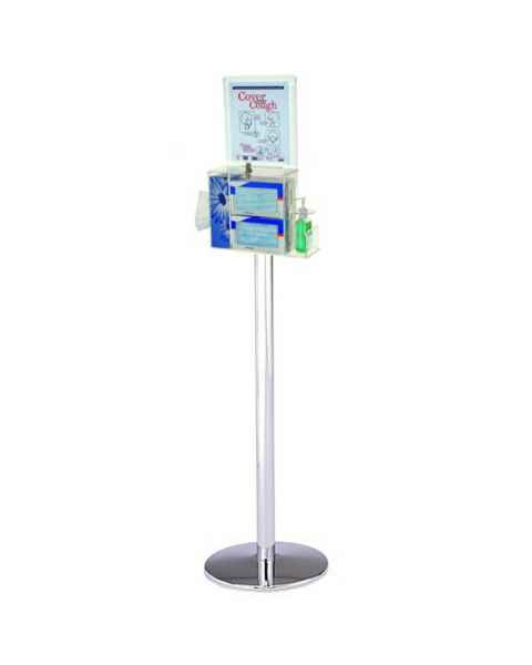 UM3403 Locking Respiratory Hygiene Stand & Health Station Shown with Standard CAM Lock