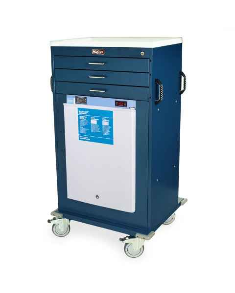 Harloff Model VF4300K-AC Mobile Vaccine Freezer Cart with 1.8 Cubic Feet Freezer, Three Drawers, Key Lock