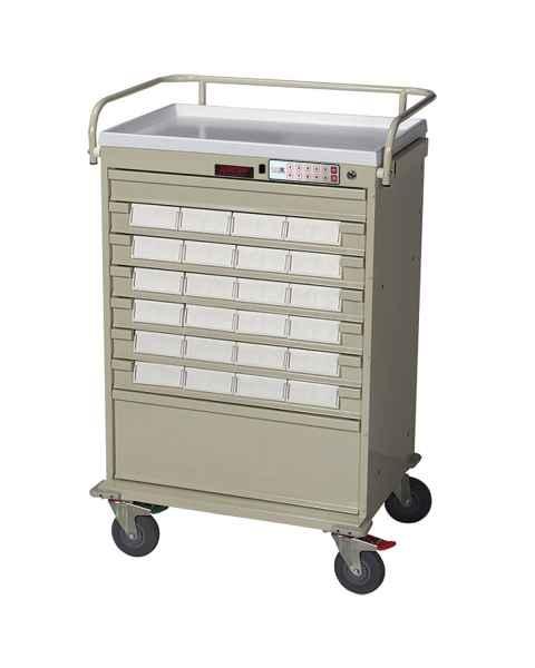 """Harloff VLT24BIN5-EKC Value Line 24 - 5"""" Med-Bin Medication Cart with CompX Electronic Lock"""