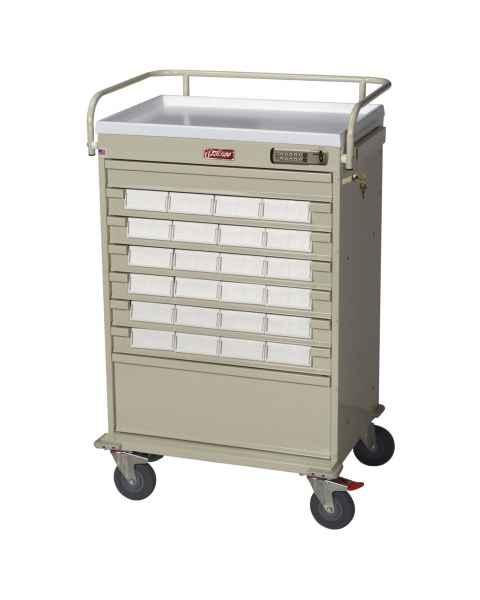 "Harloff Value Line 24 - 5"" Med-Bin Medication Cart with Basic Electronic Pushbutton Lock"