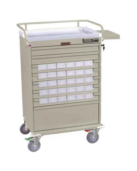 "Harloff VLT30EBIN3 Value Line 30 - 3.5"" Med-Bin Medication Cart with Basic Electronic Pushbutton Lock"
