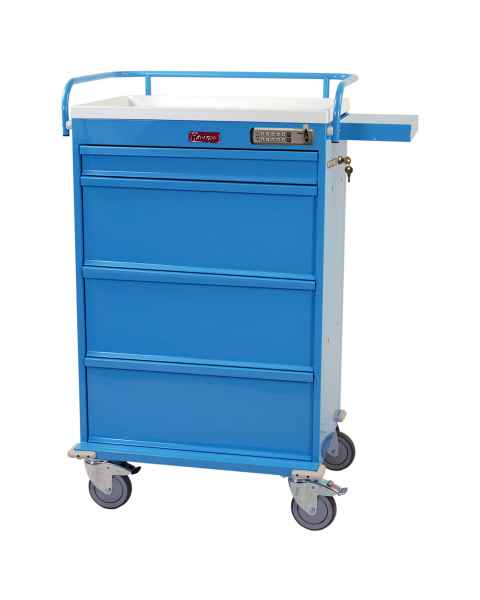 Harloff Value Line 360 Punch Card Medication Cart with Basic Electronic Pushbutton Lock, Locking Narcotics Box, Specialty Package