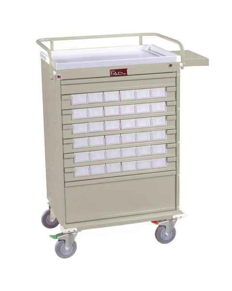 "Harloff Value Line 36 - 3.5"" Med-Bin Medication Cart with Key Lock, Specialty Package"