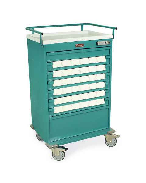 "Harloff Value Line 36 - 3.5"" Med-Bin Medication Cart with Basic Electronic Pushbutton Lock"