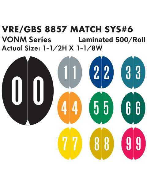 "VRE/GBS 8857 Match System 6 VONM Series Numeric Roll Color Code Oval Labels - 1 1/2""H x 1 1/8""W"