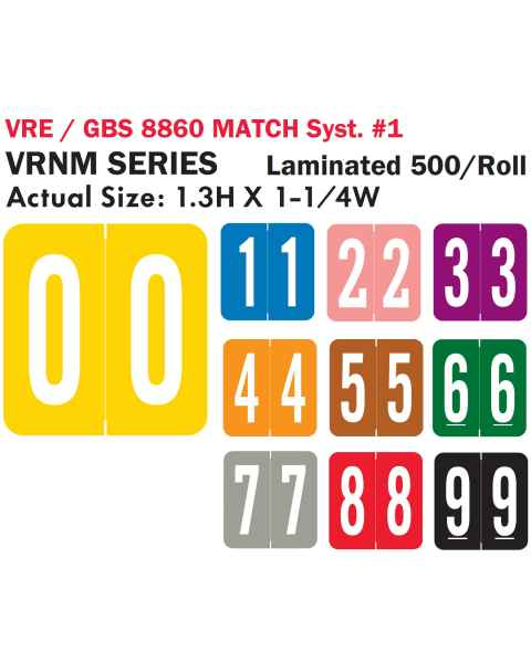 "VRE/GBS 8860 Match System 1 VRNM Series Numeric Roll Color Code Labels - 1 3/10""H x 1 1/4""W"