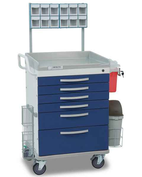 Detecto Whisper Series Loaded Anesthesiology Medical Cart 6 Blue Drawers