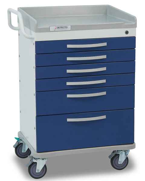 DETECTO Whisper Series Anesthesiology Medical Cart 6 Blue Drawers