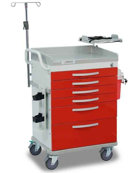 Detecto Whisper Series Loaded ER Medical Cart 6 Red Drawers