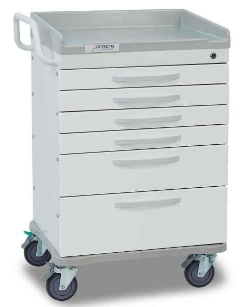 DETECTO Whisper Series General Purpose Medical Cart - 6 White Drawers