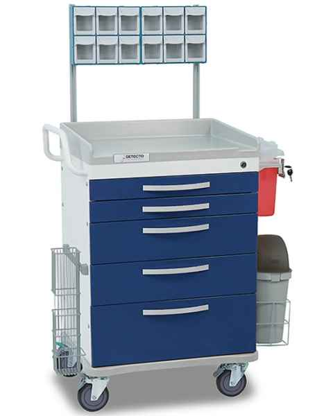 Detecto Whisper Series Loaded Anesthesiology Medical Cart 5 Blue Drawers