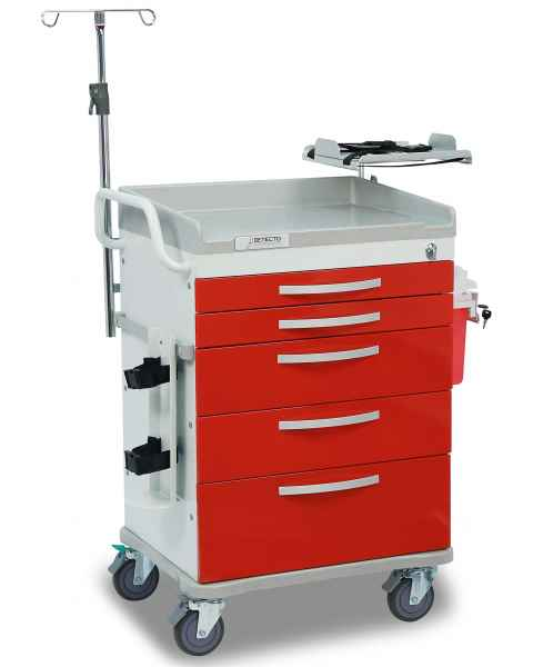 DETECTO Whisper Series Loaded ER Medical Cart 5 Red Drawers
