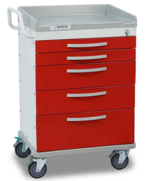 DETECTO Whisper Series ER Medical Cart 5 Red Drawers,