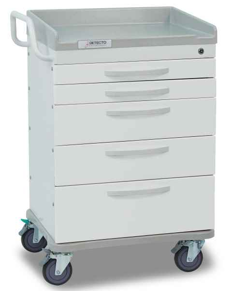 Whisper Series General Purpose Medical Cart 5 White Drawers